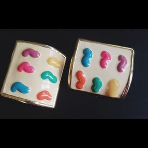 VINTAGE ARTIST PAINT GOLD TONE 80'S EARRING